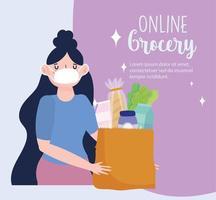 mercato online, donna con maschera facciale e generi alimentari vettore