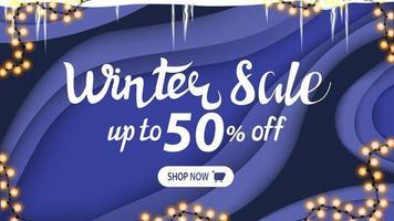 saldi invernali, banner di sconto in stile taglio carta vettore