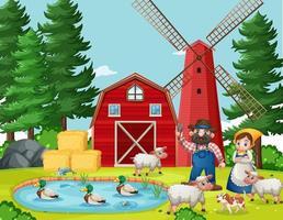 vecchio macdonald nella fattoria con scena di fienile e mulino a vento vettore