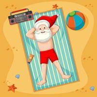 Babbo Natale che prende il bagno di sole sulla spiaggia con elemento estivo vettore