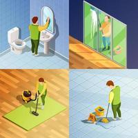 set isometrico per la pulizia della casa vettore