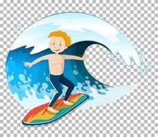 un surfista e un'onda isolata vettore