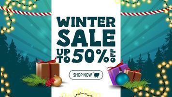 saldi invernali, banner sconto con striscia bianca vettore