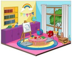 camera dei bambini o interni della stanza dell'asilo con elementi di mobili colorati