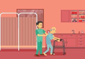 Fisioterapista libero che fa riabilitazione per l'illustrazione paziente del paziente dopo l'infortunio vettore