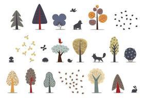 set di alberi della foresta