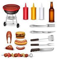 set di icone decorative barbecue vettore