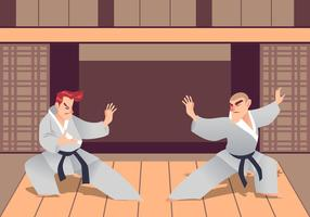 Due uomini che praticano arti marziali nel Dojo vettore