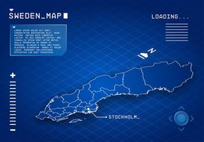 Vettore di tecnologia della mappa della Svezia