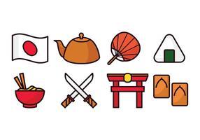 Set di icone del Giappone vettore