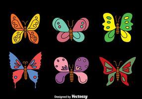 Collezione di farfalle su vettori neri