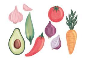 Insieme di verdure disegnato a mano di vettore