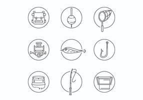 Icone di attrezzature da pesca linea sottile vettore