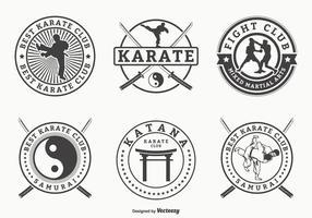 Retro arti marziali e distintivi di vettore di karatè