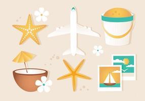 Elementi di viaggio estivo vettoriali gratis