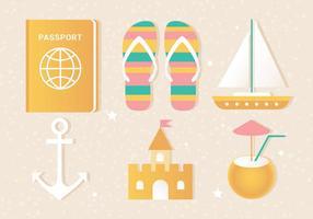 Elementi di viaggio estivo vettoriali piatto gratis