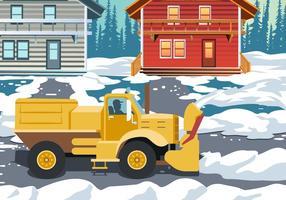 Azione di pulizia del camion spazzaneve vettore