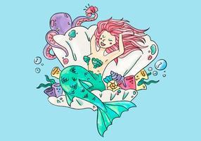 Sirena sveglia all'interno di un ostyer e fiori con polpo vettore
