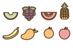 Vettore di icone di frutta piatto