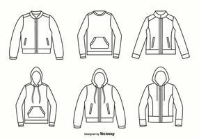 Giacche, felpe con cappuccio e disegno vettoriale del maglione