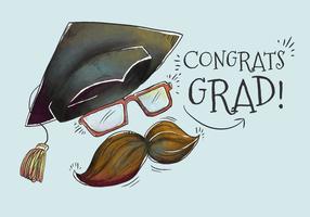 Grad cute cappello con baffi per vettore di stagione di laurea