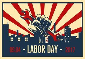 Vettore libero del manifesto di propaganda di festa del lavoro