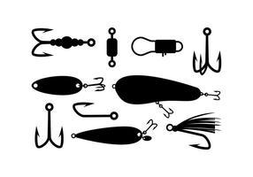Vettore della siluetta di attrezzatura da pesca
