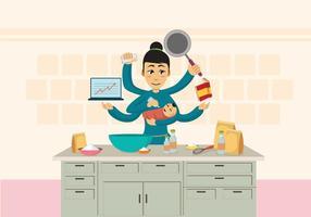 Madre occupata libera con l'illustrazione del bambino