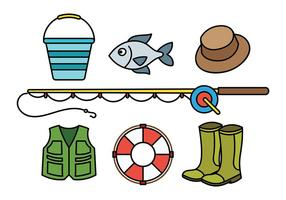 Icone di vettore di attrezzatura da pesca