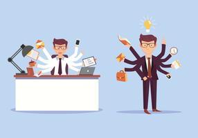 Illustrazione di vettore dell'uomo di affari di multitasking