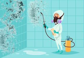 Uomo che pulisce vettore ammuffito del bagno