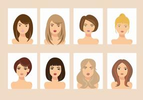 Donna con i vettori differenti dell'avatar di stile dei capelli