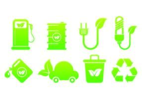 Set di icone biodegradabili vettore