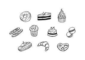Vettore disegnato a mano dell'icona del dessert libero