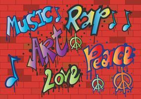 Grafiti pace e amore vettoriale