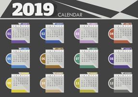 Modello di progettazione del calendario da tavolo 2019
