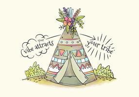 Tenda tribale carina con fiori e foglie vettore