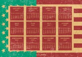 Calendario di stile patriottico di Grunge 2017 vettore