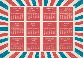 Calendario di Grunge 2017 di stile patriottico vettore