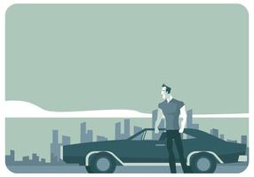 Un uomo in piedi davanti al suo Dodge Charger 1970 Vector