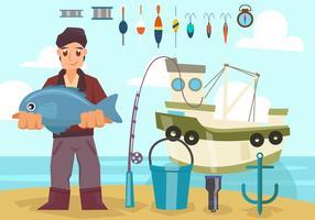 Pescatore con il vettore della barca e dell'attrezzatura
