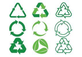 Set di icone vettoriali frecce biodegradabili