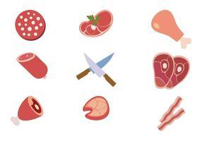 Vettore delle icone del prodotto dei collage della carne