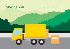 Spostamento di illustrazione di trasporto o consegna di van