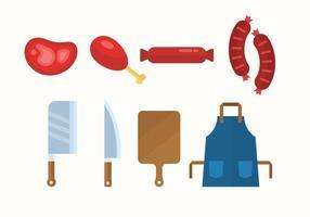 Icone del negozio di macelleria vettore