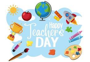 logo della giornata mondiale dell'insegnante felice con articoli per studenti vettore