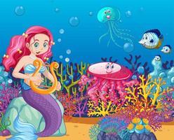 set di animali marini e stile cartoon sirena sullo sfondo del mare vettore
