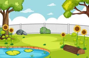 parco naturale con scena di palude e girasoli vettore