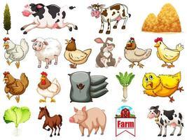 set di animali da fattoria vettore