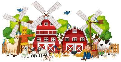 mulino a vento con fattoria degli animali insieme isolato vettore